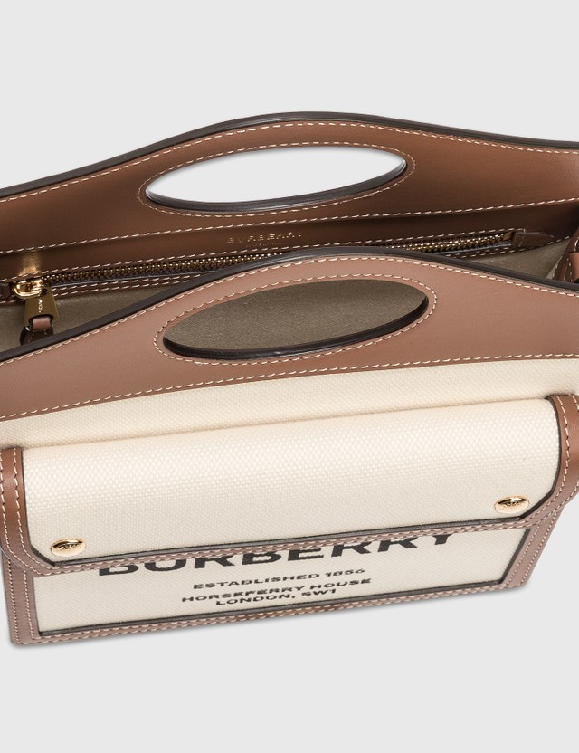 Burberry Mini Two-tone Canvas and Leather Pocket Bag Natural/malt Brown Women