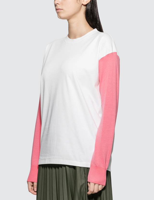 MM6 Maison Margiela Logo Sweatshrit With Knit Sleeve Pink Women