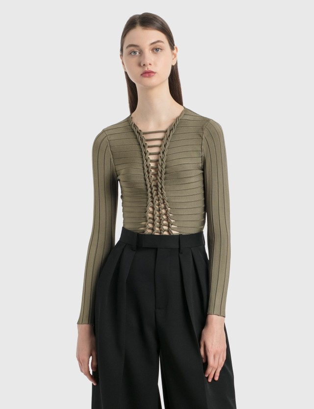 Dion Lee Central Braid Long Sleeve Top Smoke Women