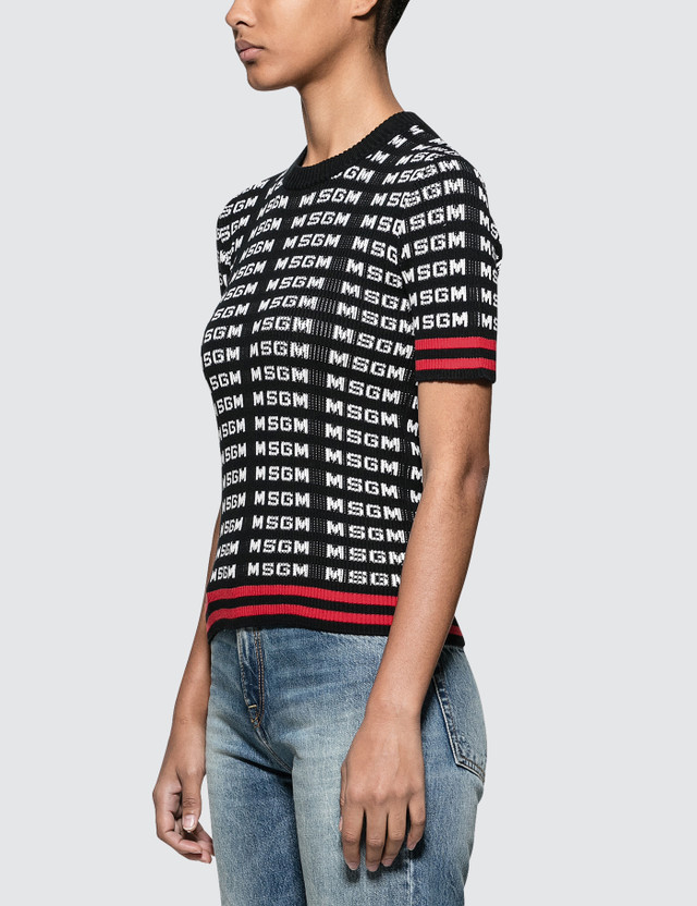 MSGM All Over Msgm Logo Sport Ribbed Knit Top