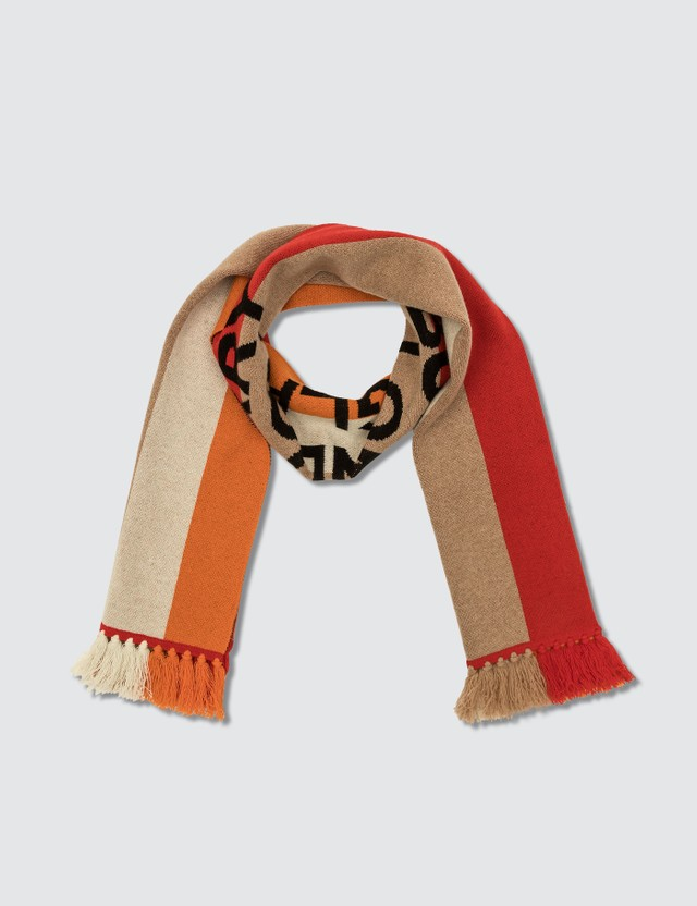 Burberry Logo Detail Striped Cashmere Jacquard Scarf