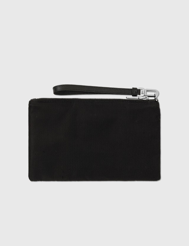 Prada Nylon and Saffiano Leather Pouch Nero Men
