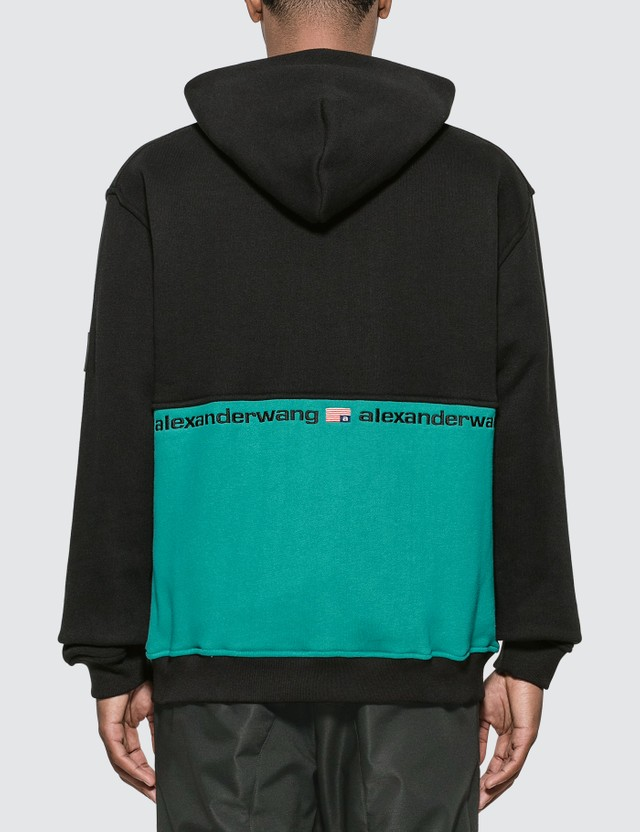 Alexander Wang Color Block Half Zip Hooded Sweatshirt