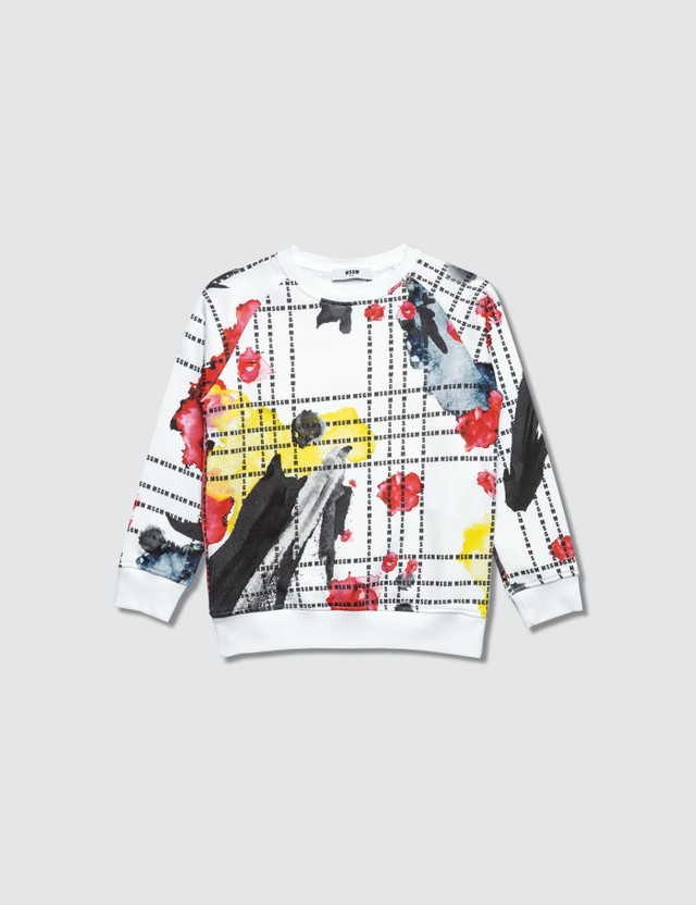 MSGM Colorful Splatter Logo Printed Sweater