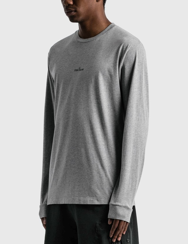 Stone Island Back Logo Long Sleeve T-Shirt Grey Melange Men