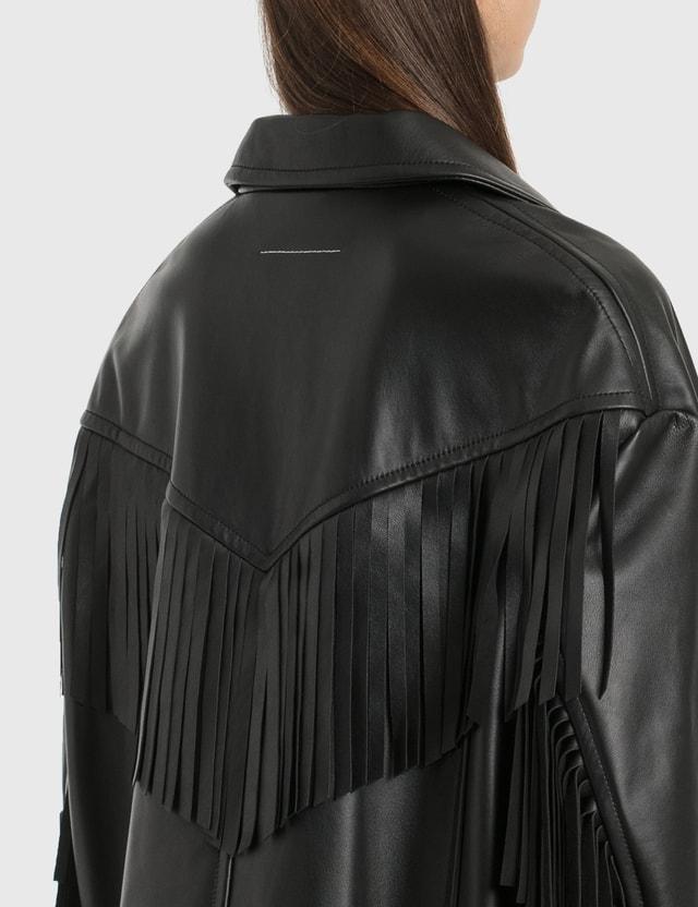 MM6 Maison Margiela Fringe Leather Jacket Black Women