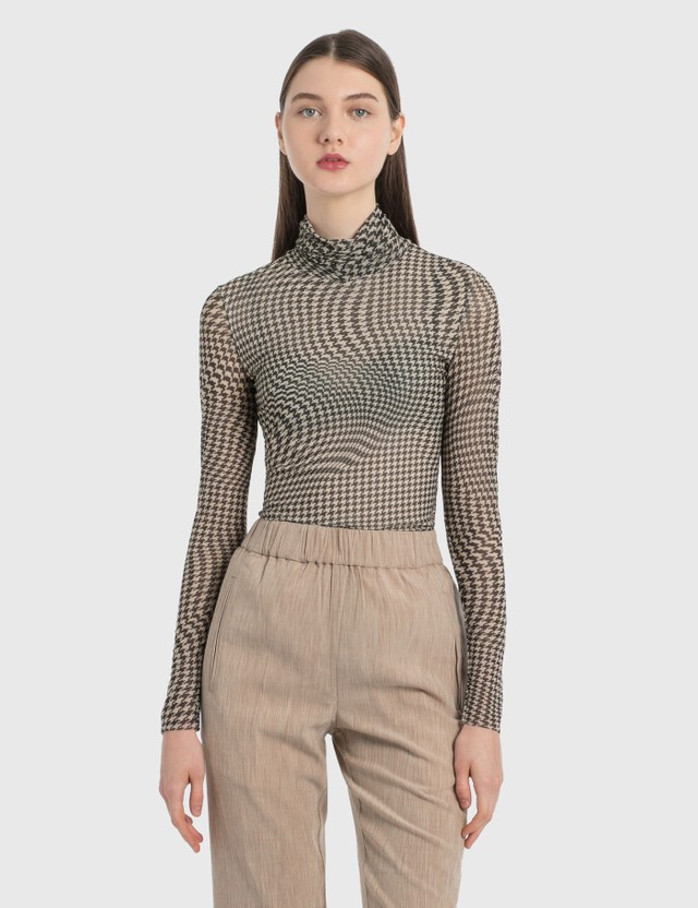 Ganni Printed Mesh Rollneck Top Brazilian Sand Women