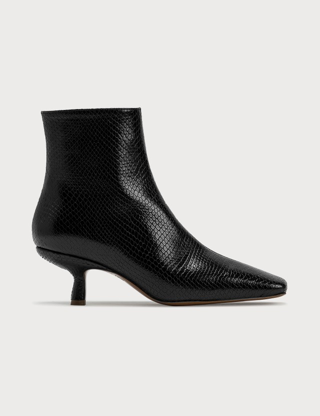BY FAR Lange Black Snake Print Leather Boots