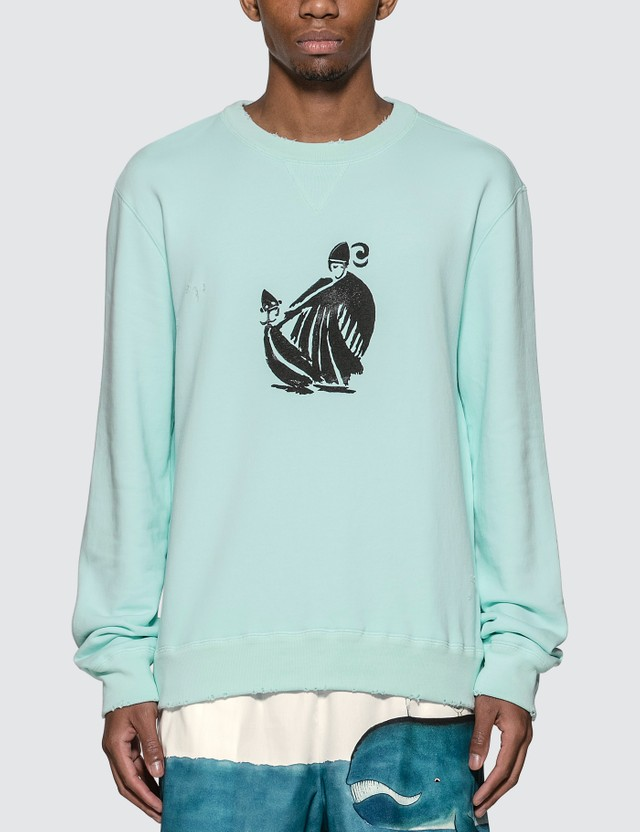 Lanvin Mother & Child Print Sweatshirt 201 Lanvin Blue Men
