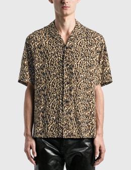 Saint Laurent Leopard Print Camouflage Shark Collar Shirt
