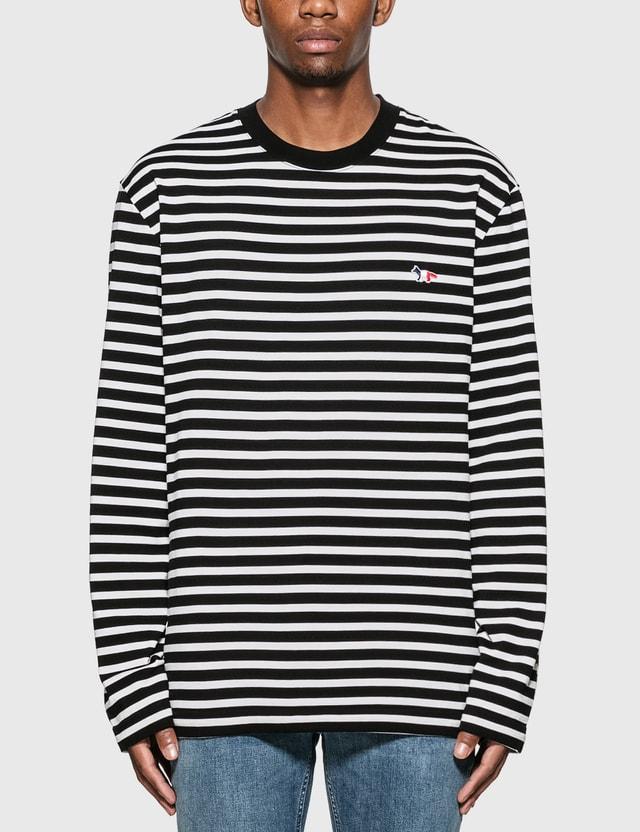 Maison Kitsune Tricolor Fox Stripe Long Sleeve T-Shirt