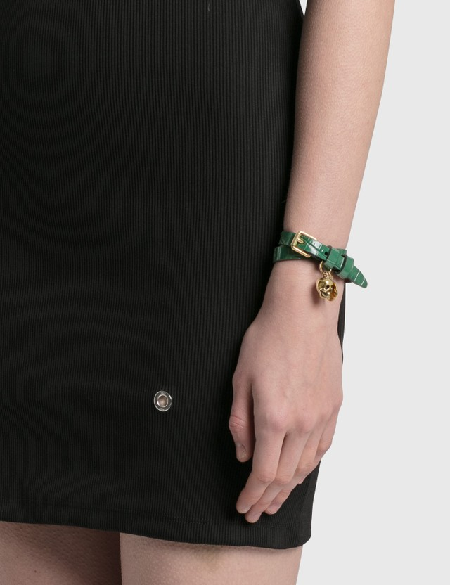 Alexander McQueen Leather Double Wrap Skull Bracelet Emerald Women