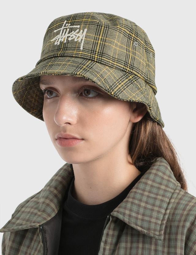 Stussy Big Logo Plaid Bucket Hat Off White Women
