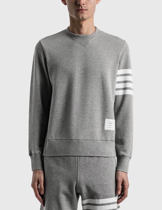 Thom Browne 4-Bar Classic Crewneck Sweatshirt Light Grey Men