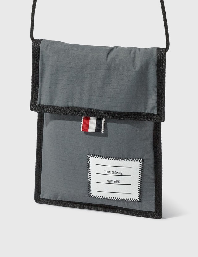 Thom Browne Velcro Drawcord Neck Pouch Med Grey Men