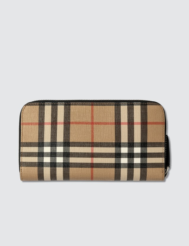 Burberry Vintage Check E-canvas Zip Around Wallet