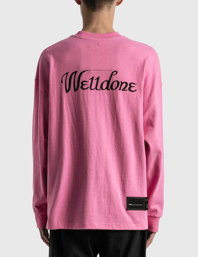 We11done We11done Print Logo Long Sleeve T-Shirt Pink Men