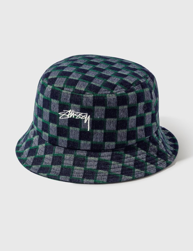 Stussy Brent Check Wool Bucket Hat Green Men