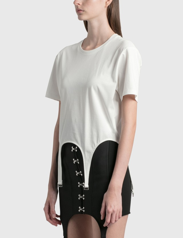 Dion Lee Garter Cotton T-Shirt Ivory Women