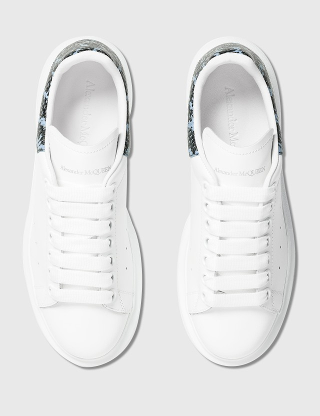 Alexander McQueen Oversized Sneakers With Python Print White/sky Blue Women