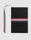 Thom Browne Pebble Grain Leather Small Notebook with RWB Stripe