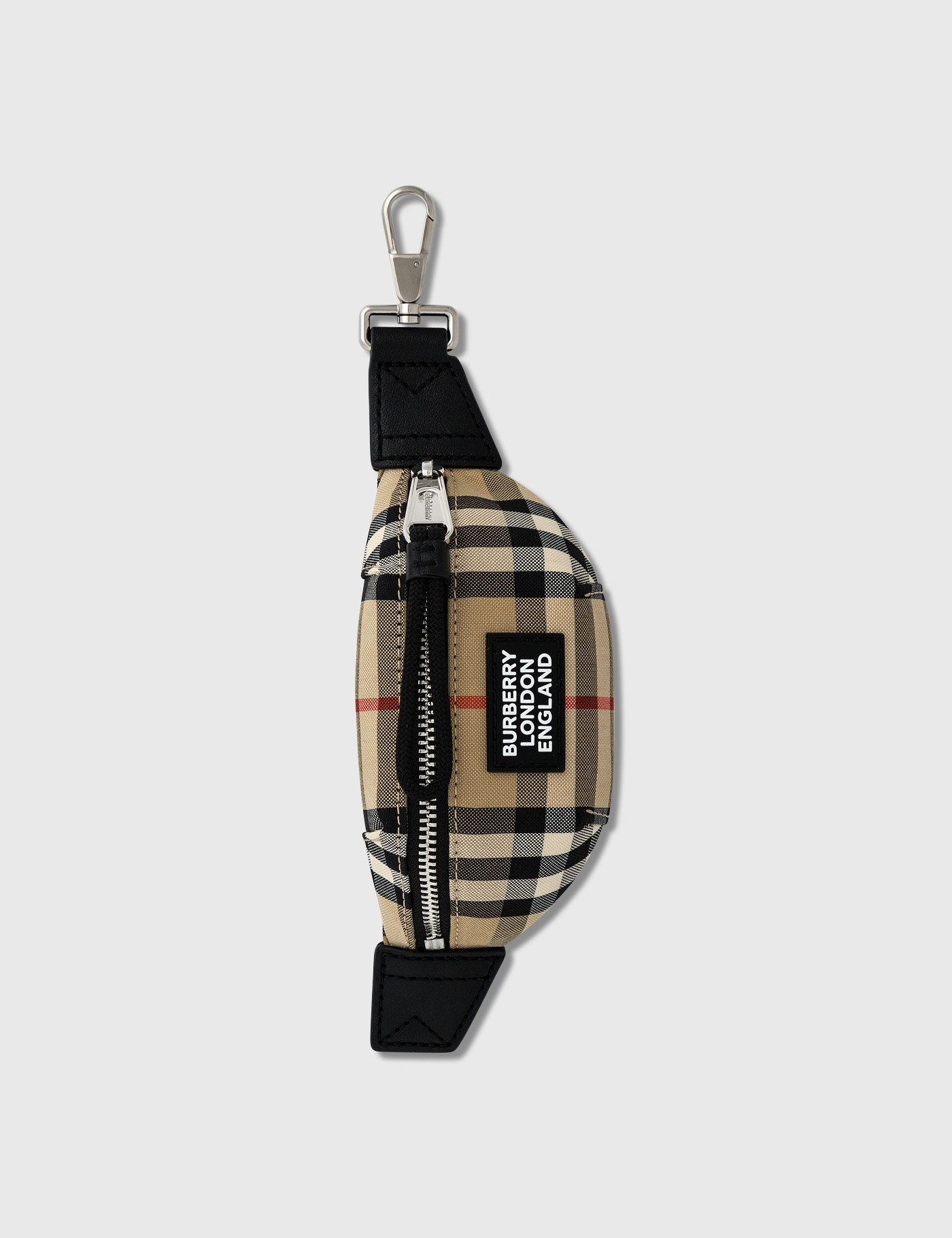 Vintage Check and Leather Bum Bag Charm