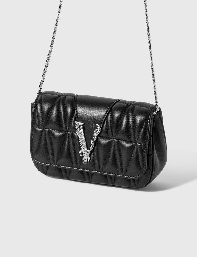 Versace Virtus Quilted Evening Bag Nero-palladio Women