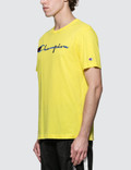Champion Reverse Weave Script Logo S/S T-Shirt Yellow Men