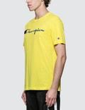 Champion Reverse Weave Script Logo S/S T-Shirt Yellow Men