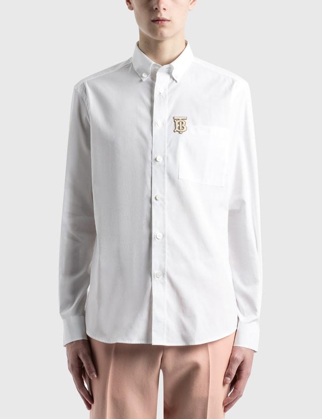 Burberry Monogram Motif Stretch Cotton Poplin 셔츠 White Men