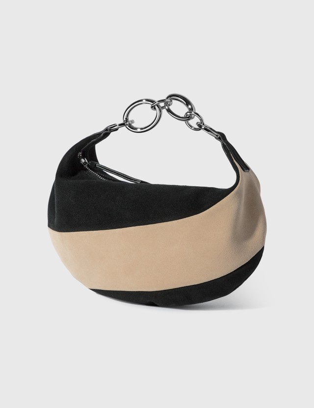 BY FAR Bougie Black And Oat Suede Leather Shoulder Bag Black Women