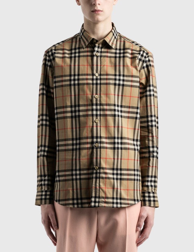 Burberry Check Cotton Poplin 셔츠 Archive Beige Ip Chk Men