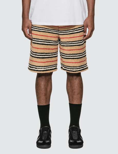 버버리 Burberry Icon Stripe Fleece Drawcord Shorts