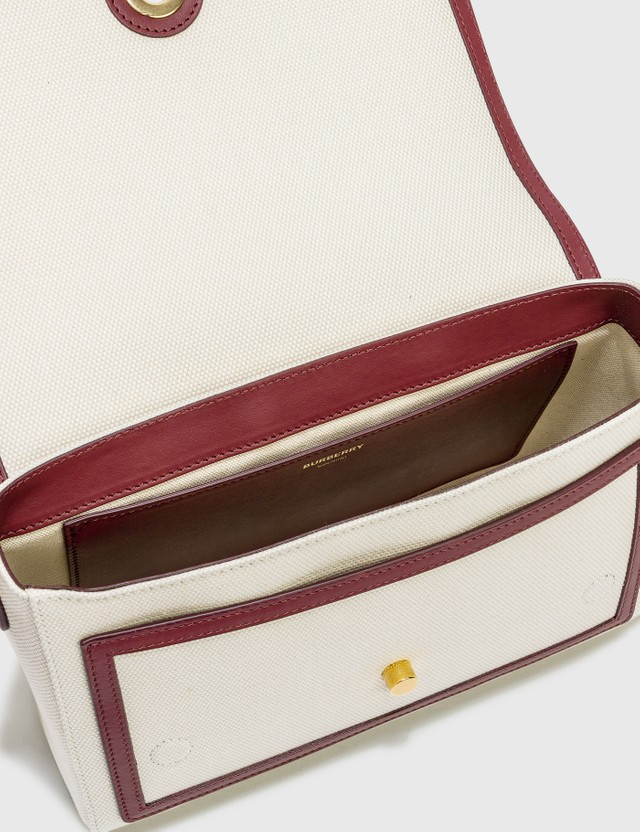 Burberry Horseferry Print Canvas Note Crossbody Bag Natural/garnet/mango Women