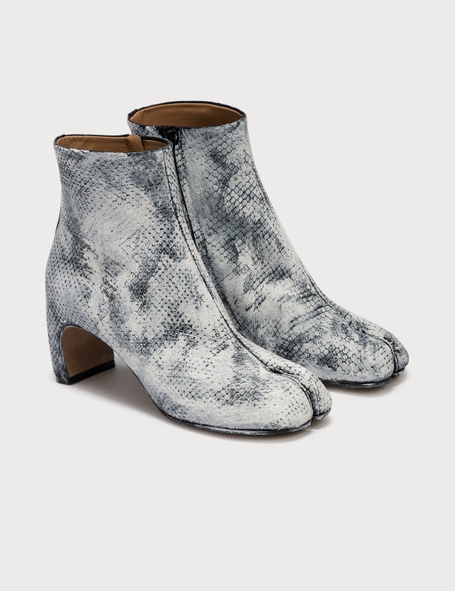 Maison Margiela Tabi Paint Python Effect Leather Ankle Boots