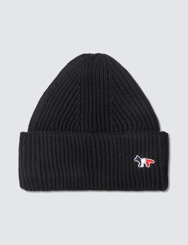 Maison Kitsune Tricolor Fox Patch Ribbed Hat