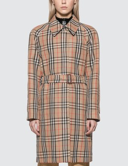 Burberry Vintage Check Nylon Belted Car Coat