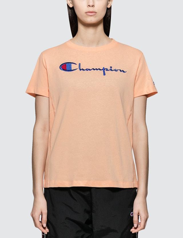 Champion Reverse Weave Logo Script Logo Short Sleeve T-shirt Pink Women