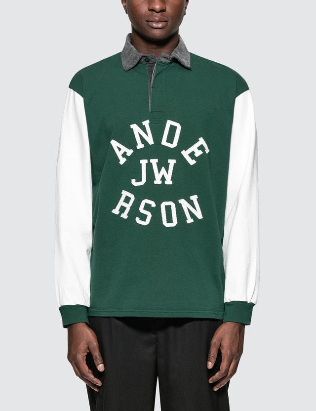 JW Anderson Rugby Long Sleeve Polo Bottle Green Men