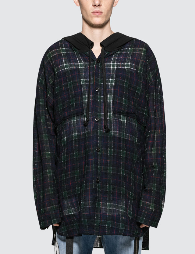 Faith Connexion Check Hooded Over Shirt