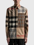 Burberry Contrast Check Stretch Cotton Poplin Shirt 사진