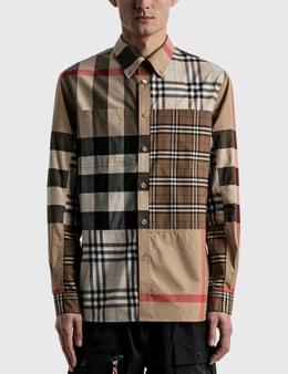 Burberry Contrast Check Stretch Cotton Poplin Shirt