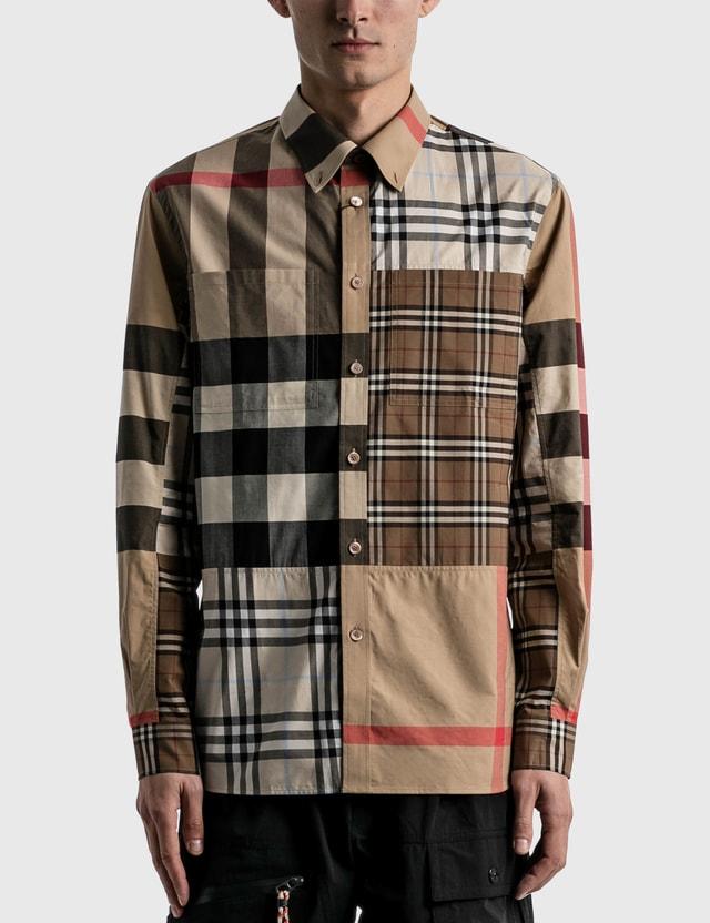 Burberry Contrast Check Stretch Cotton Poplin Shirt Light Almond Ip Chk Men