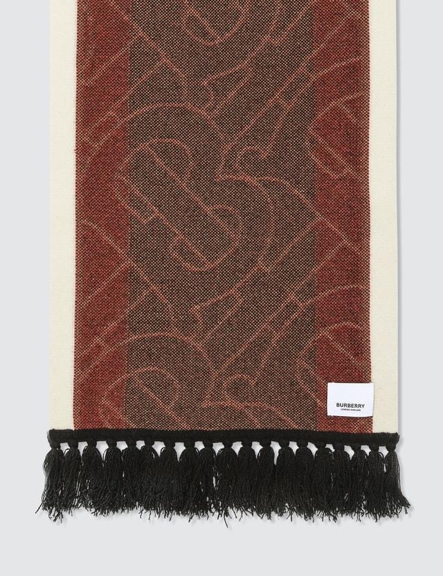 Burberry Striped Monogram Cashmere Jacquard Scarf