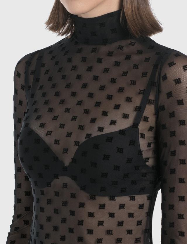 Misbhv Monogram Mesh Black Turtleneck Top Black Women