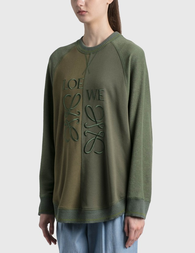 Loewe Wool-blend Anagram Sweatshirt Dark Green/forest Women