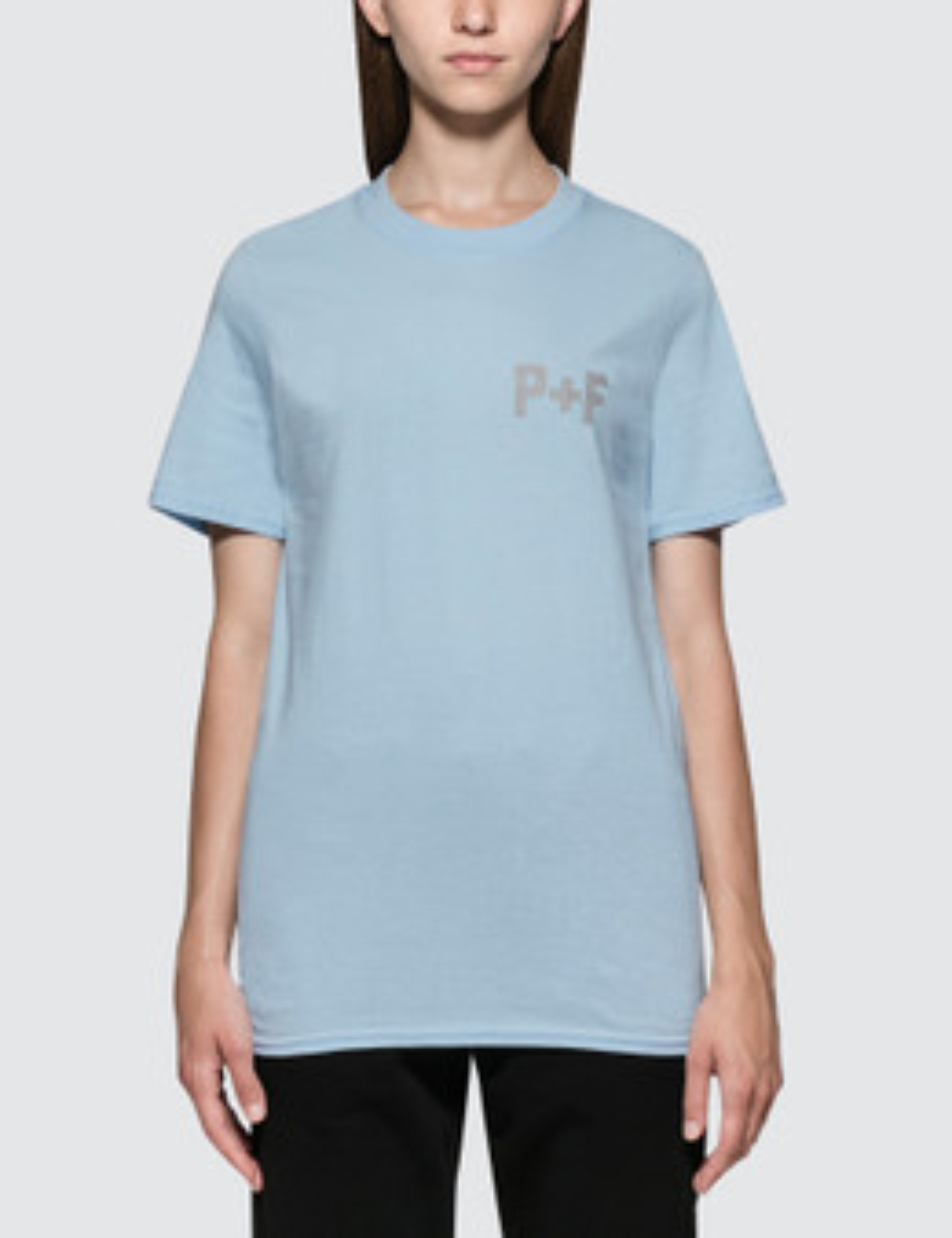 PLACES + FACES | Places + Faces P+F Logo Reflective Short Sleeve T-shirt | Goxip