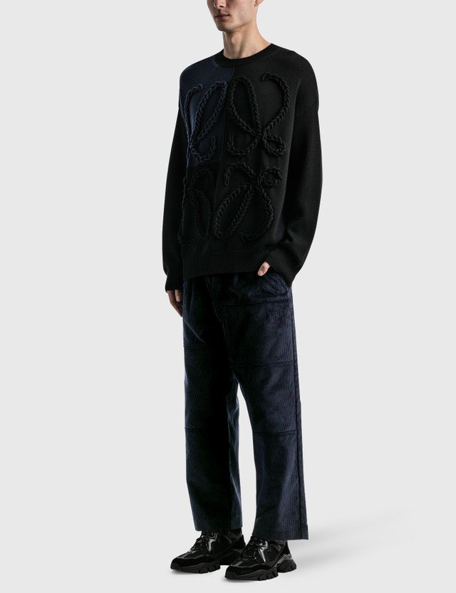 Loewe Corduroy Workwear Trousers Dark Navy Blue Men