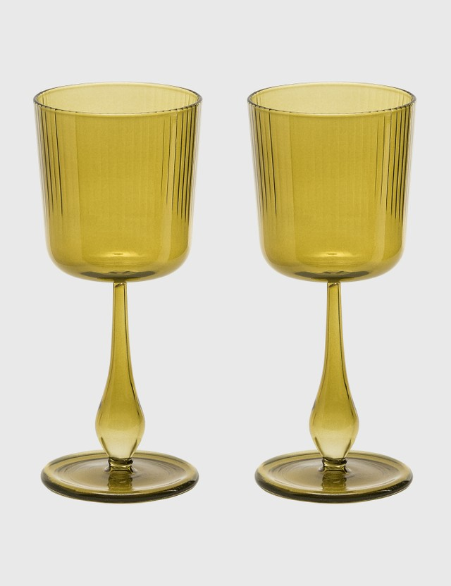 R+D Lab Luisa Calice Glasses (Set of Two) Citrine Green Unisex
