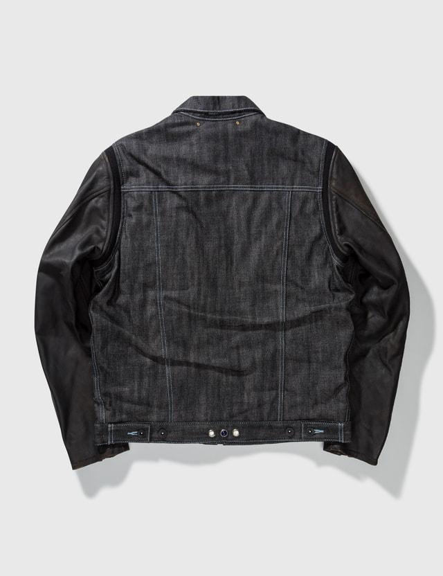 NEIGHBORHOOD Neighborhood Denim With Leather Sleeves Jacket Black Archives